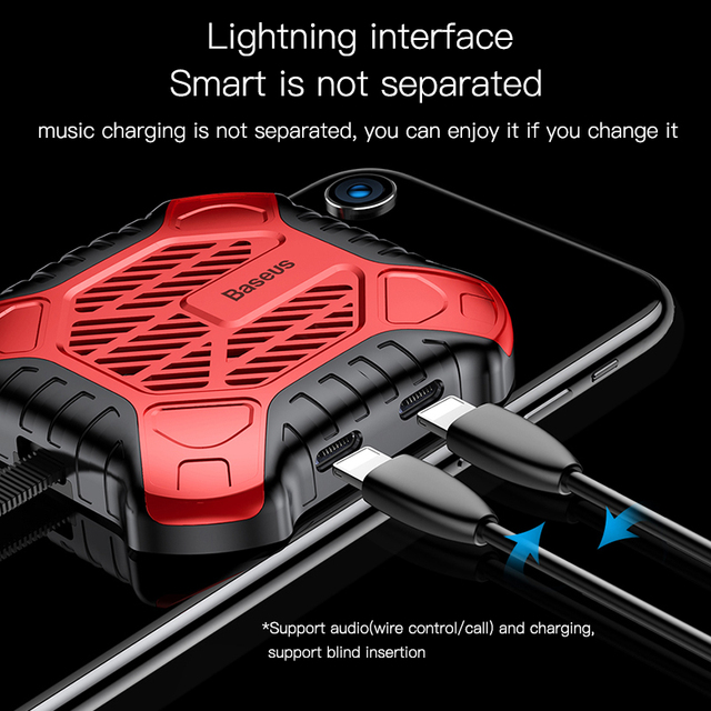 Baseus 3 in 1 Mobile Phone Heat Sink Game Cooler Audio Radiator With Aux Charging Cable Adapter