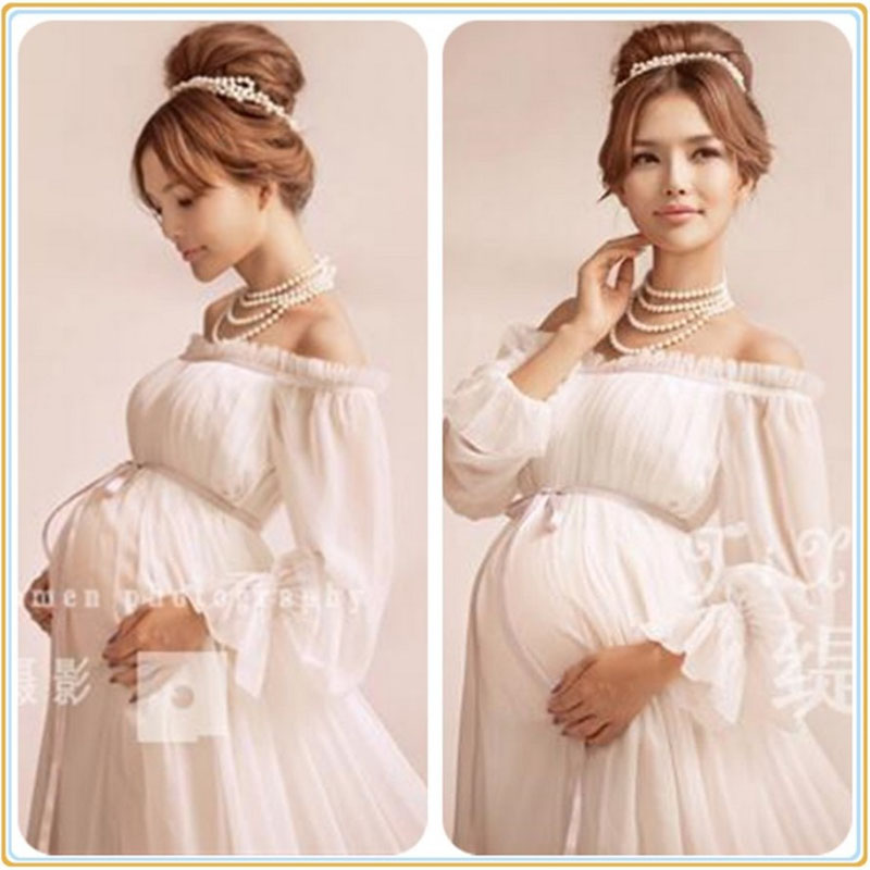 2017 Royal Style White Maternity Lace Dress Pregnant Photography Props Pregnancy maternity photo shoot long dress Nightdress