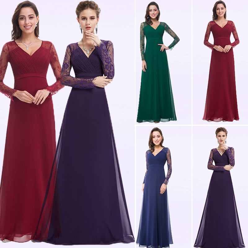 Purple   Evening     Dresses   Chiffon A-line Lace Long Sleeve Autumn Winter Plus Size Formal   Evening   Ladies Gowns Elegant Lange Jurk