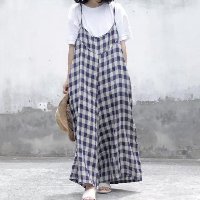 0291b42dc66 Women Plus Size Cotton Linen Jumpsuits Ladies Wide leg Overalls Oversized Plaid  Rompers Female Plaid Trousers