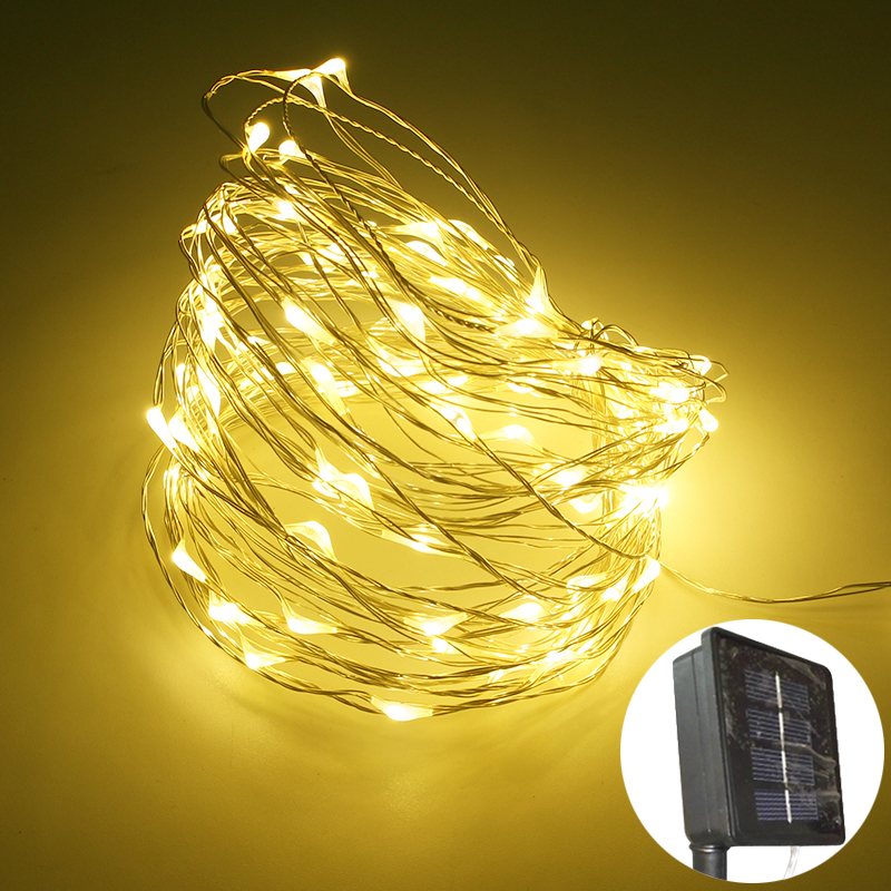 LED Garland Solar Power String Light Waterproof LED Copper Wire lamp 10m 100leds Christmas Lights outdoor Decorations