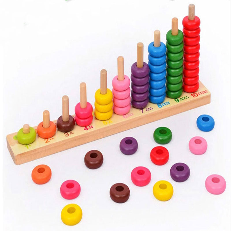 New Set Wooden Toy Colourful Kids Toys Montessori Educational 10 Level Clouds Computation Beads Wooden Math Baby Toys