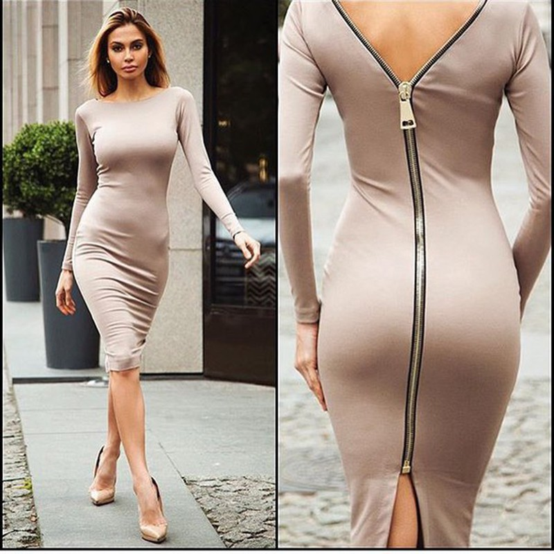 781b3bc063 Detail Feedback Questions about 2018 Bodycon Sheath Dress Little Black Long Party  Dresses Women Back Full Zipper Robe Sexy Femme Pencil Tight Dress Backless  ...