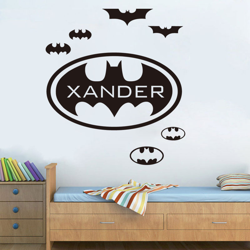 personalised batman cool design wall stickers custom name removable