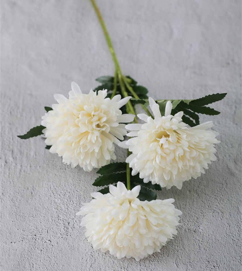 3 رؤساء جربر زهرة فرع الحرير الزهور الاصطناعية مع أوراق الزفاف الديكور رخيصة ورد صناعي فلوريس مصطنع