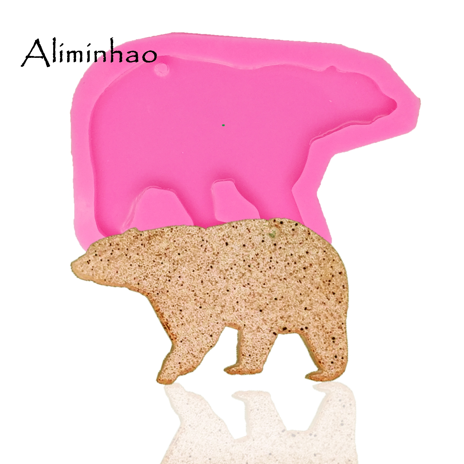 DY0049 shiny Mama bear and baby pendent mold DIY silicone