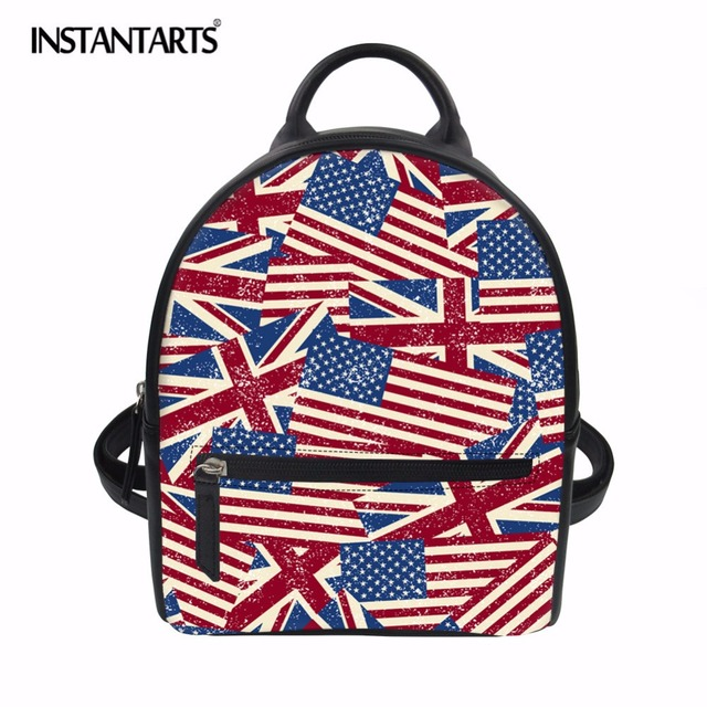 07b883e9b1 INSTANTARTS US UK Flag Print PU Leather Backpack Women School Bag For  Teenage Girls Brand Ladies Small Backpacks Mochilas Female