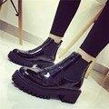 Alta calidad mujer botas tamaño 35-39 de la motocicleta botas chelsea negro Martin botas zapatos de mujer tobillo botas de lluvia botas de nieve caliente