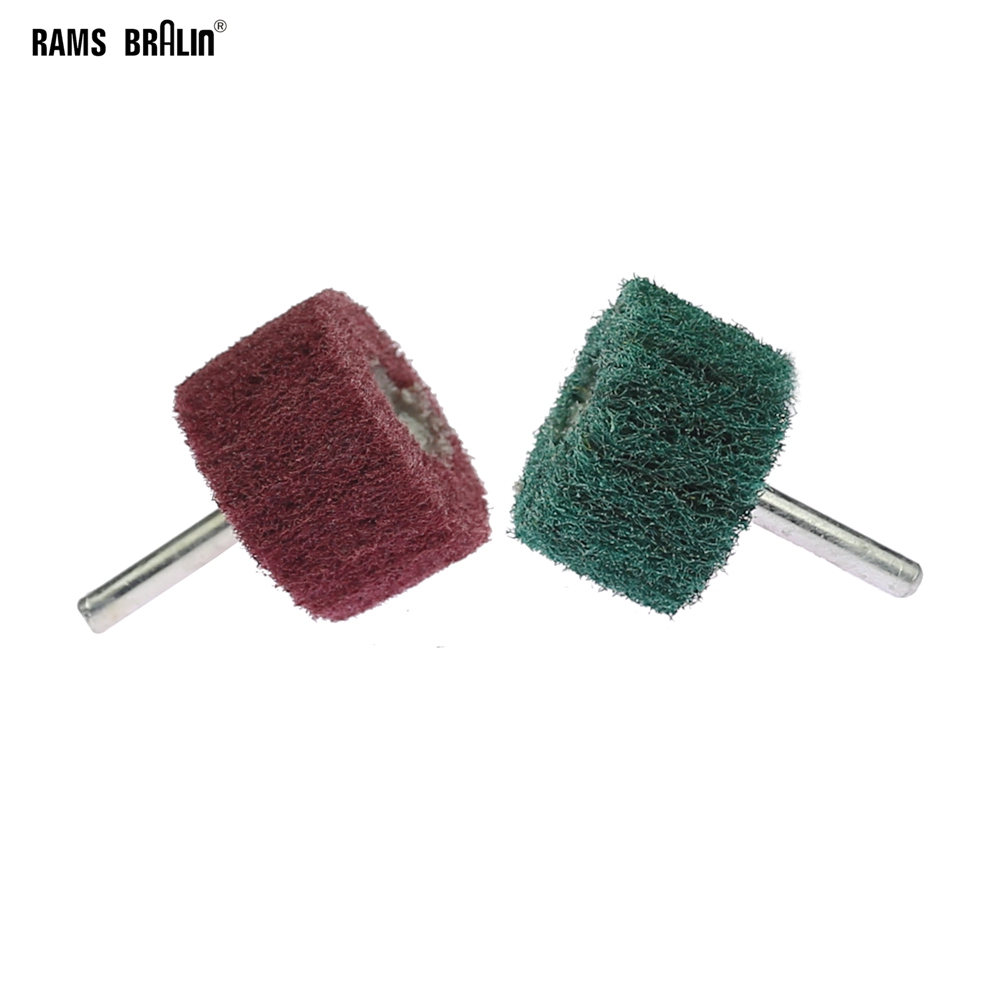 10 Pieces 6mm Shank Mounted Non-woven Scouring Mop Polishing Brush Flap Wheel For Drill Power Tools