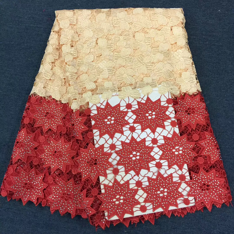 (5yards/pc) high quality two colored African guipure lace cream and red big cord lace fabric with stones for party dress CWS79