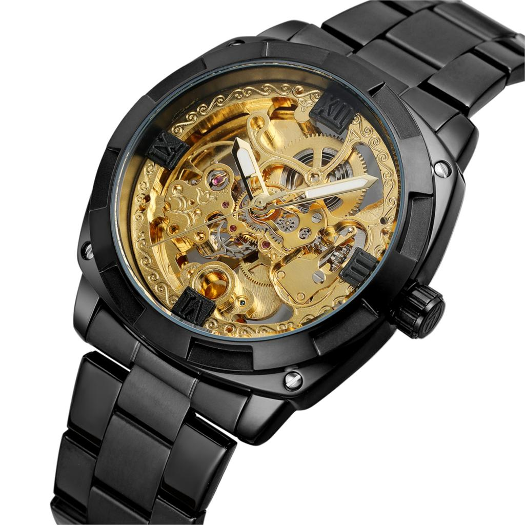Forsining Men Automatic Mechanical Watches Top Brand Luxury Stainless Steel Watch Skeleton Transparent Sport Male WristWatch forsining golden stainless steel sport watch steampunk men watch luminous openwork mechanical watches folding clasp with safety