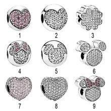 26139cd59966 925 de pavé de plata corazón Minnie Mickey Clips del encanto del grano fit  Pandora pulsera brazalete de abrir mi corazón Clips S..