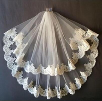 wholesale 2t fingertip length lace bridal veil white ivory wedding veil & comb bride vail