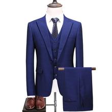 (blazer + vest + pants) high-end luxury slim groom dress business British wind print Plus size Asian size S-5XL british asian theatre