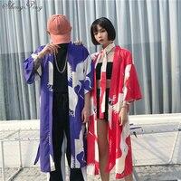 2019 women cardigan haori traditional kimonos Japanese Crane printing kimono yukata kimono cardigan fashion blouse Q678