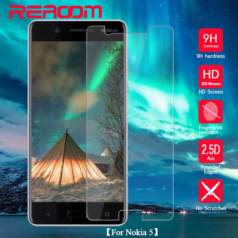 REAOOM 9H 2.5D Tempered Glass for Nokia 5 Protective Glass Curved Edge Screen Protector for Nokia 5 Screen Protective Glass Film