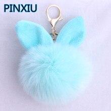 Фотография 2017 Fur Pom Pom Keychain Fake Rabbit Fur Ball Key Chain Porte Clef Pompom De Fourrure Pompon Bag Charms Bunny Keychain Keyring
