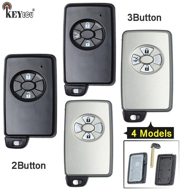 KEYECU עבור טויוטה החלפת חכם כרטיס מרחוק רכב מפתח Shell Case Fob 2/3 כפתור עם נימול להב שחור/לבן צבע רק פגז