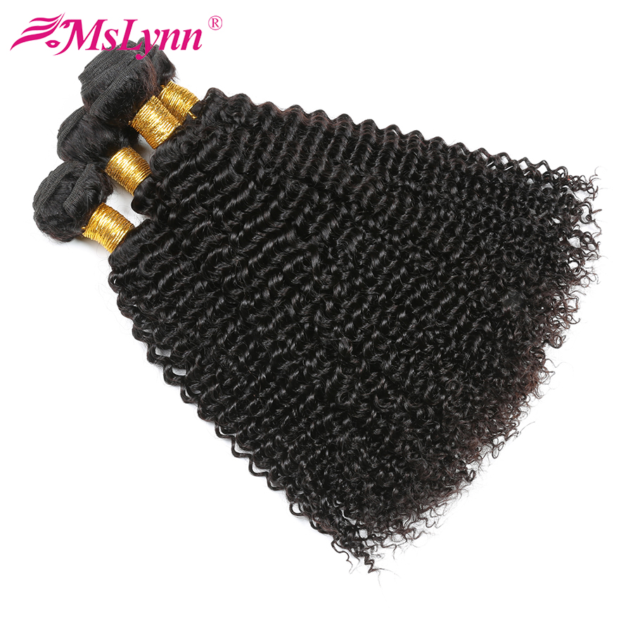 Mslynn Afro Kinky Curly Hair Bundles Malaysian Curly Hair Extension Human Hair Weave 4 Bundle Deals Non Remy Hair Double Weft