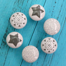 6PCS Shabby Chic Ceramic Cupboard Knobs Door Handle Cabinet Drawer Pull  Children Furniture Hardware 33mm