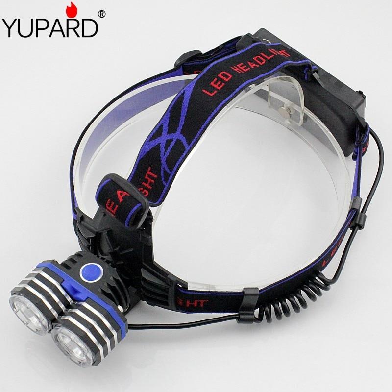 Προβολέας YUPARD 2 * XM-L T6 LED 2000LM Φωτισμός κεφαλής εξωτερικού φωτισμού Υποστήριξη Σύνδεση τροφοδοσίας USB 3 * AA 3 * AAA 18650