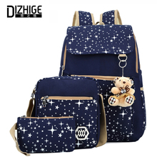 Canvas 3Pcs/Set Backpacks Gift Bear Women Backpack Stars Printing School Bag For Teenage Girls Backpack Large Capacity Sac ADos