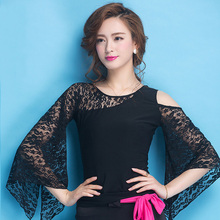 Fashion Ballroom Black lace long sleeve sexy modern Latin dancing clothing top for women/female/girl, New Tango costume yc0801
