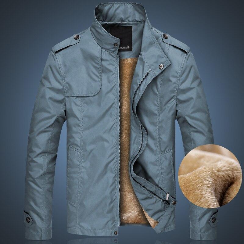 Loldeal Men Fleece Thick Warm Windbreaker JacketsWinter Bomber Jacket Male Casual Solid Slim Fit Business Jacket