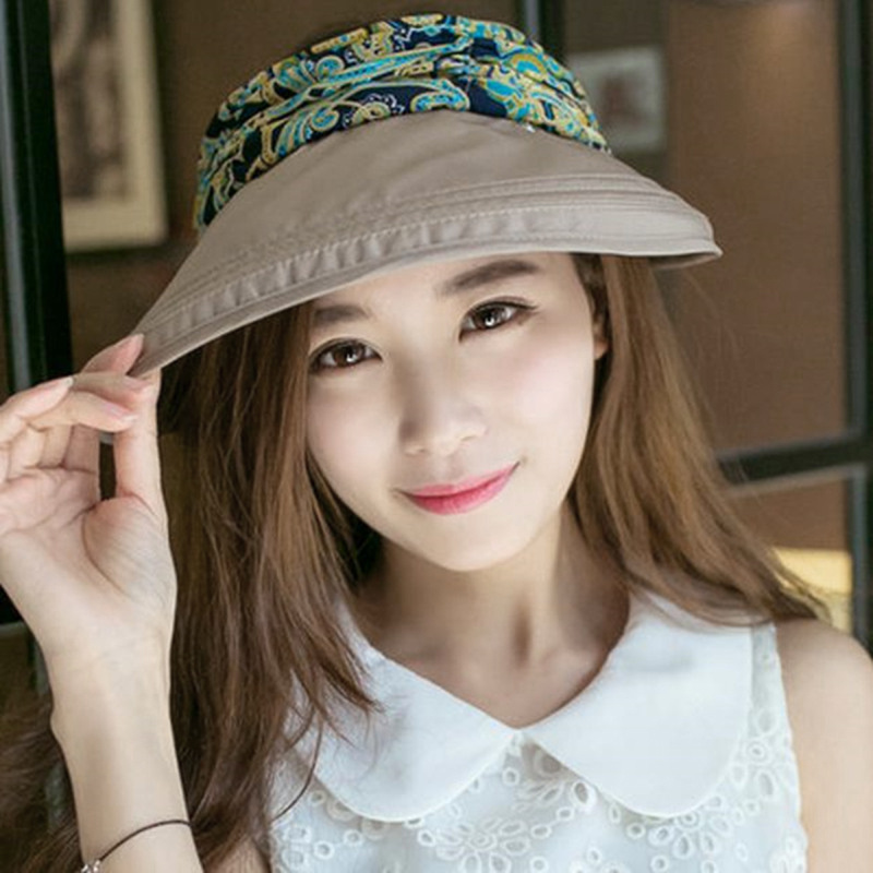 Hot New Women's Summer Style Beach Foldable Face Neck Protector Floppy Hat Wide Large Brim Sunhat Outdoor Collapsible Caps image