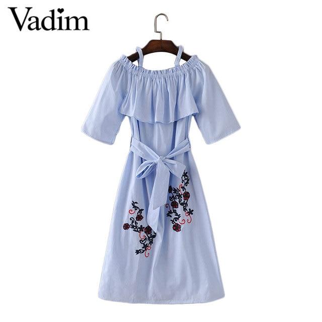 Женщины сексуальная слэш шеи вышивка полосатый dress оборками пояса Faldas mujer дамы моды уличной повседневные платья QZ2843