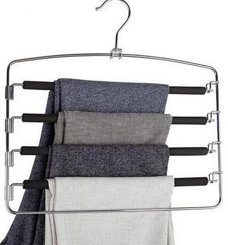 2pcs sponge Non-slip multilayer Trousers rack Multi-function stainless steel Trousers hanger Coat Racks