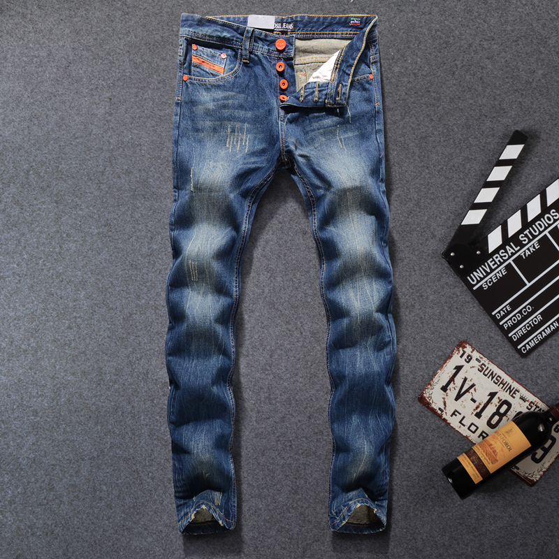 Fashion Mens Blue Jeans Ripped Denim Casual Trousers Male High Quality Dsel Brand Orange Buttons Jeans Men 29-40 E777 patch jeans ripped trousers male slim straight denim blue jeans men high quality famous brand men s jeans dsel plus size 5704