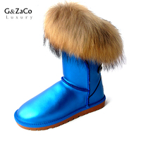 G&Zaco Luxury Brand Natural Fox Fur Snow Boots Blue Middle Calf Boots Flat Waterproof Women Genuine Leather Real Fur Snow Boots