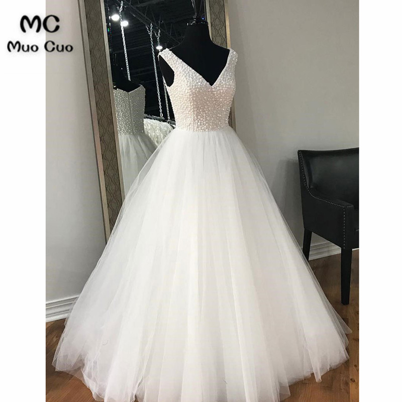 New 2018 A-Line Wedding Dresses with Beaded Tank Robe de mariage V-Neck Floor Length Tulle vestido de noiva Bridal Gowns