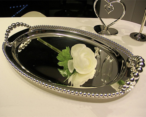 Silver Plated Metal Cake Tray For Wedding And Party Decoration 42 3 26 6cm