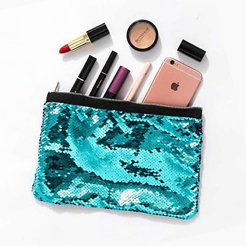 Fashion Mermaid Paillette Travel Cosmetic Bag Women Zipper Makeup Bag Organizer Storage Pouch Toiletry Beauty Wash Kit Box new women fashion pu leather cosmetic bag high quality makeup box ladies toiletry bag lovely handbag pouch suitcase storage bag