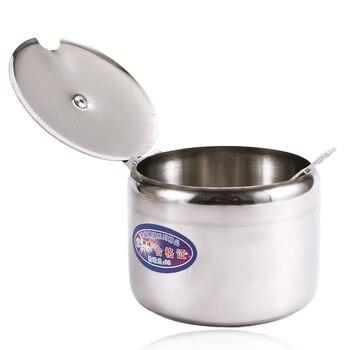 Мини-кастрюля для хранения соли из нержавеющей стали, чайные соусы, кофейные варенья с крышкой, ложка