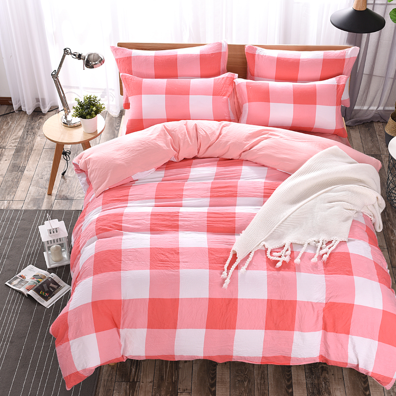 Cartoon pink Plaid Bedding Sets For Children Adult Bed Set Duvet Cover Bed Sheet Pillow size  tiwn full queen king Home 35Cartoon pink Plaid Bedding Sets For Children Adult Bed Set Duvet Cover Bed Sheet Pillow size  tiwn full queen king Home 35