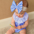 2017 New baby girls jumpsuits summer baby bodysuits ruffle collar girls clothes newborn striped sleeveless girl clothing