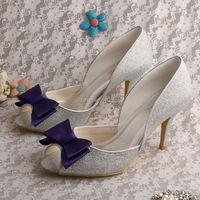 Wedopus Benutzerdefinierte Handmade Großhandel Silber Hochzeit Schuhe High Heel Prom Pumps Lila Bogen