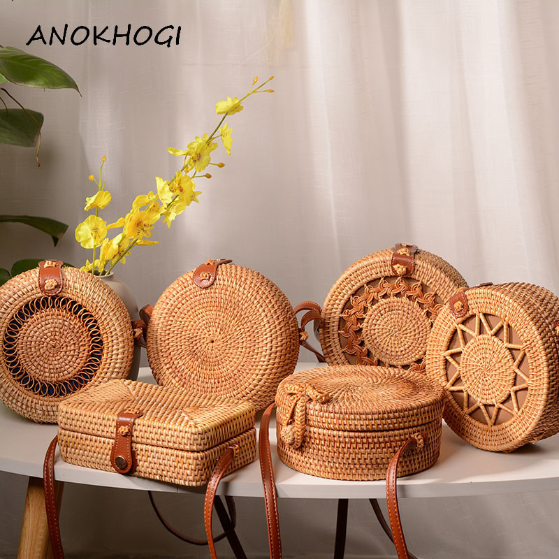 Handmade Woven Women Rattan Bags Vintage Weave Straw Shoulder Bag Hollow Out Ladies Female PU Straps Crossbody Handbag BJH