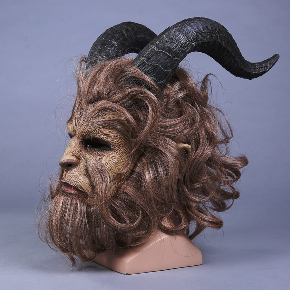 Movie Beauty and the Beast Mask Cosplay Adam Prince Horror Lion Latex - Carnavalskostuums - Foto 3
