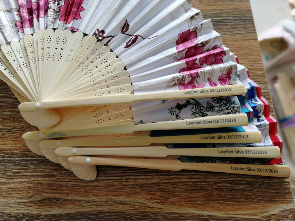 New Chinese Japanese Vintage Fancy Folding Fan Hand Wooden Lace Silk Flower Dance Fans Party Supplies For Gift gift box  100 PCS-in Party Favors from Home & Garden    1