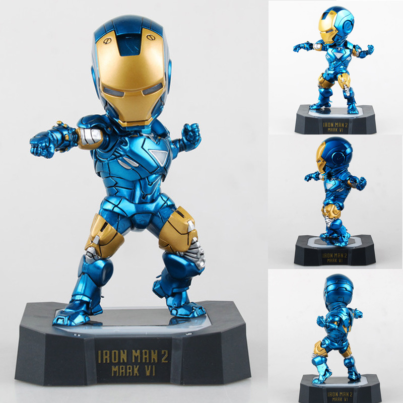 Marvel Egg Attack Iron Man Mark VI Blue Iron Man Brinquedos PVC Action Figure Juguetes Collectible Toy with LED Light 7 18CM neca planet of the apes gorilla soldier pvc action figure collectible toy 8 20cm