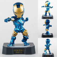 "Marvel Egg Attack Iron Man Mark VI Blue Iron Man Brinquedos PVC Action Figure Juguetes Collectible Toy with LED Light 7"" 18CM(China)"