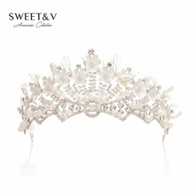 Handmade Bridal Tiara Rhinestone Crown Princess Headpieces Women Hair Jewelry Costume Accessories for Pageant Prom Party