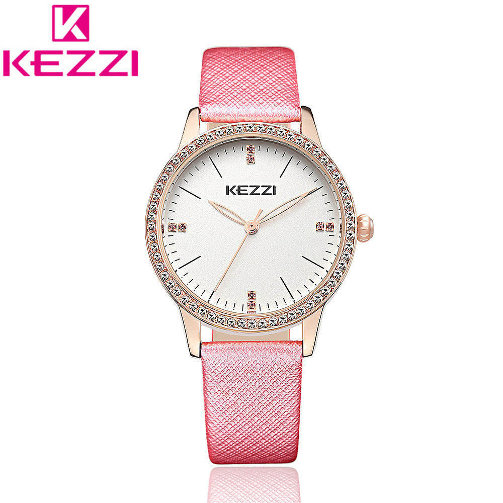KEZZI K-1356 Fashion Women Watch Leather Strap Simple Style Rhinestone Dial Casual Quartz Wristwatches Ladies Dress Watch KZ107 free shipping kezzi women s ladies watch k840 quartz analog ceramic dress wristwatches gifts bracelet casual waterproof relogio