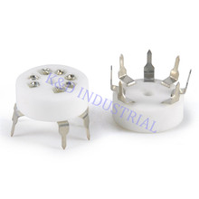 2pcs Vacuum Ceramic Sliver Mini 7pin Tube Socket 12AE6 6AQ6 12AT6 6066 PCB Base Valve Guitar Amp Parts