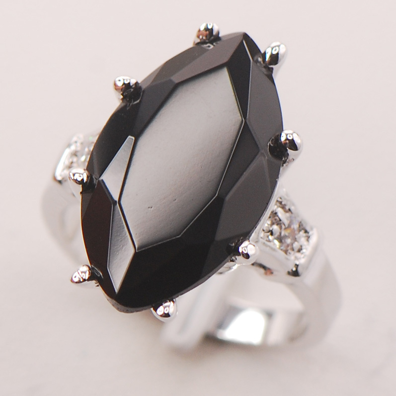 Black Onyx Women 925 Sterling Silver Ring F738 Size 6 7 8 9 10 ...