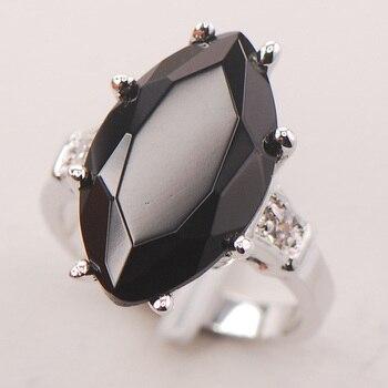 F738 hitam Onyx Wanita 925 Sterling Silver Ring Ukuran 6 7 8 9 10
